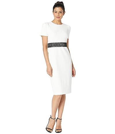 Calvin Klein Short Sleeve Midi Dress with Trim at Waist CD8C15VW (Cream/Black) Women