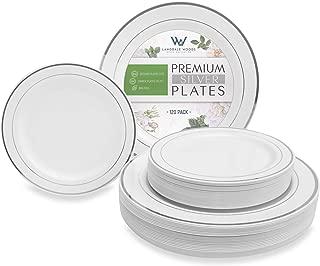 120pcs Disposable Plastic Plates - Premium Silver Plates - 60 Dinner Plates and 60 Dessert Plates