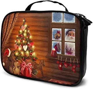Cosmetic Bag Christmas Santa Claus Is In Town Travel Makeup Bag Anti-wrinkle Cosmetic Case Multi-functional Storage Bag Large Capacity Makeup Brush Bags Travel Kit Organizer Women's Travel Bags