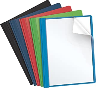 Oxford Clear Front Report Covers, Assorted Colors, Letter Size, 25 per Box (55813EE)