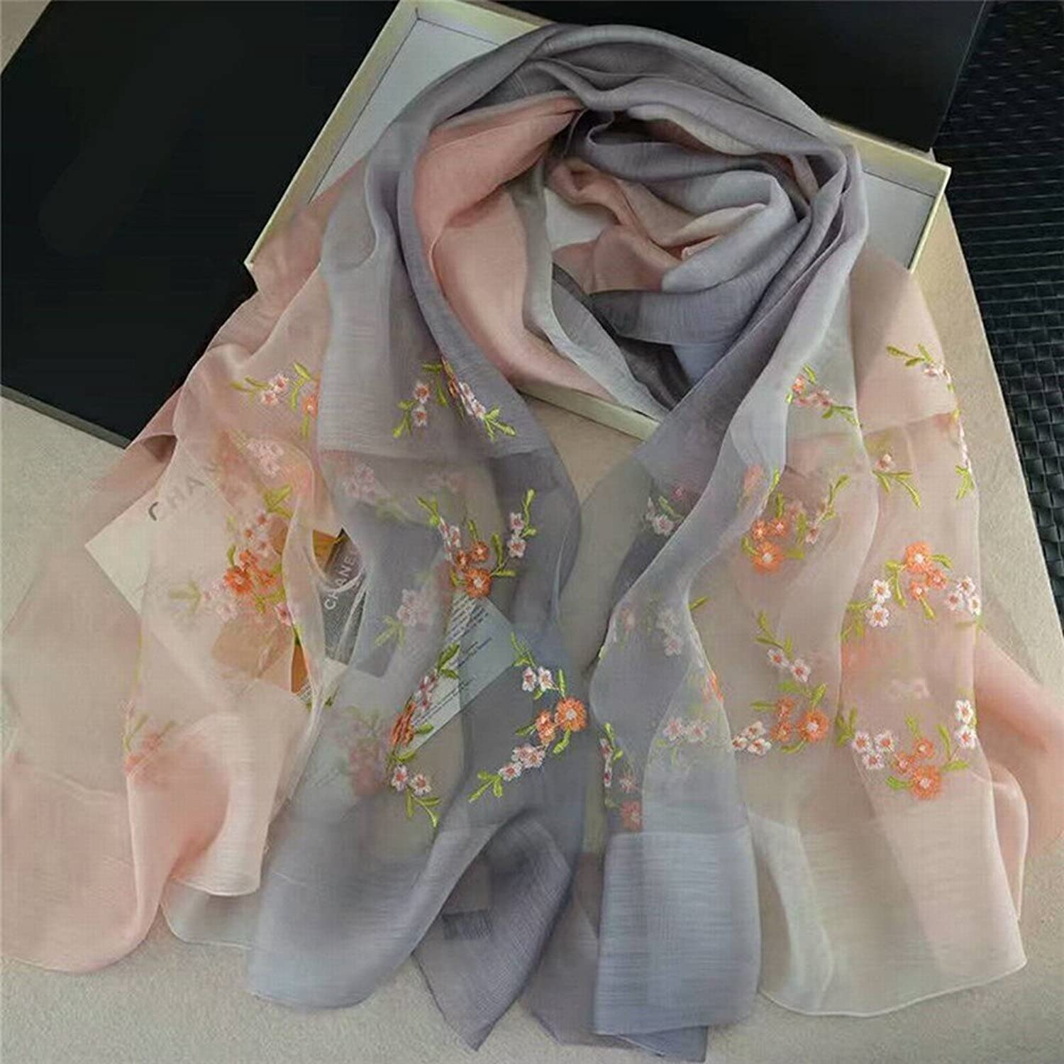 DHG Silk Embroidery Sunscreen Silk Scarves Women Oversized Shawl Wild Shawl