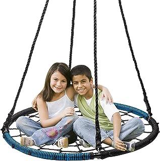 Display4top Columpio en Forma de Plato de la Serie Feldus Mide 100 cm de Diámetro y es Apto para Niños y Adultos (Azul Negro)