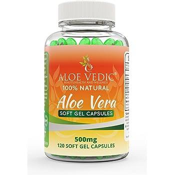 100% Natural Aloe Vera Cápsulas Suplemento de 500 mg para la ...
