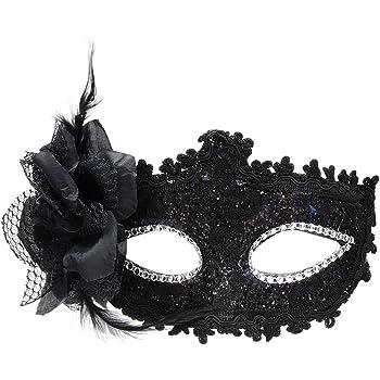 FEMALE BLACK JEWELLED ROSE /& FEATHER EYE MASK FANCY DRESS ACCESSORY