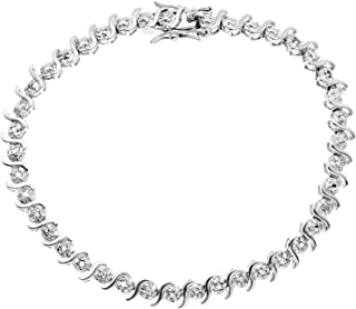 """JewelExclusive Sterling Silver 1/4 cttw Natural Round-Cut Diamond (J-K Color, I2-I3 Clarity) Bracelet,7"""""""