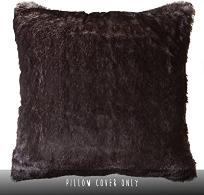 "North End Decor Faux Fur 18""x18"" (Cover Only), Dark Grey-Tipped Fox Throw Pillows, 18x18"
