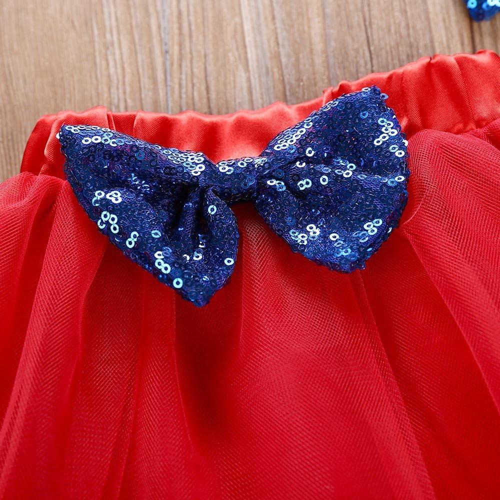 Womola Baby Girls Little Miss Letter Print 4th of July Outfits Short Sleeve Romper+Tutu Princess Dress+Headband Set