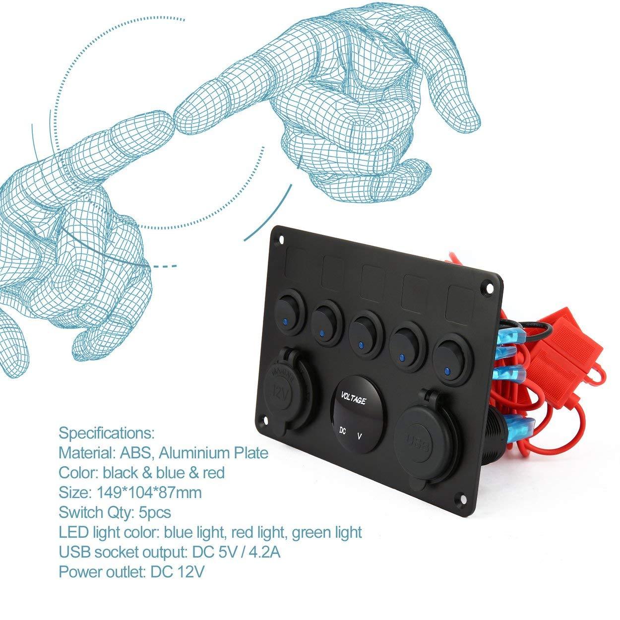 Lorenlli Panel de Control de Interruptor de Palanca ON-Off Profesional de 5 cuadrillas con volt/ímetro Digital 2 Cargador USB 12V para Coche Barco Marino