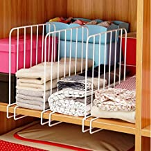 INDIAN DECOR Wooden Racks Closet Shelf Organiser, Shelf- Partitions/Shelf- Seperators/Shelf Dividers (White) - Set of 2