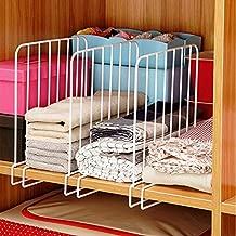 INDIAN DECOR Wooden Racks Closet Shelf Organiser, Shelf- Partitions/Shelf- Seperators/Shelf Dividers (White) - Set of 2