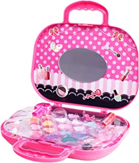 Kids Makeup Toys Kit for Girl Washable Non Toxic Princess Cosmetic Set with a Carrying Case Pretend Play Toy Set for Little Girls Ages 6 7 8 9 Year Old Children 7.87 x 2.36 x 7inch
