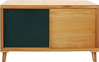 Mobili Rebecca® Aparador para TV Mueble Bajo 2 Puerta Corredera Madera Marrón Verde Salón Pasillo Decoración Moderno (Cod....