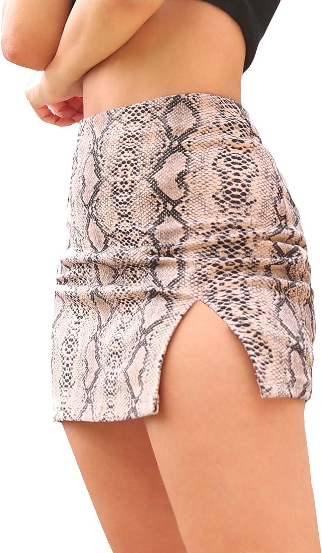 SweatyRocks Women's Casual Floral Print Split Bodycon Short Mini Skirt