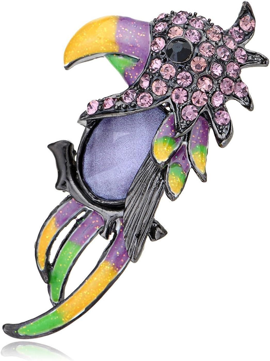 Alilang Purple Crystal Body Rhinestone Parrot Bird Head Profile Pin Brooch