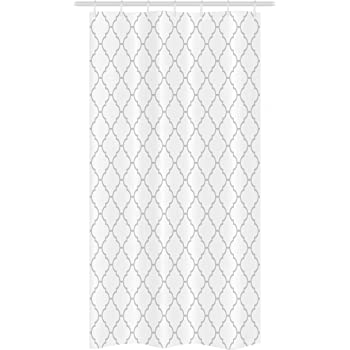 "Ambesonne Grey Stall Shower Curtain, Simple Monochrome Patterns Geometric Linked Forms on Plain Background Modern, Fabric Bathroom Decor Set with Hooks, 36"" X 72"", White Gray"
