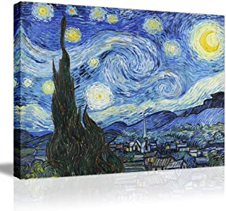 Starry Night Canvas Prints Framed Wall Artwork-Van Gogh Famous Oil Painting Giclee Stretched Modern Wall Art for Home Decoration Gallery Wrapped Ready to Hang Vintage Wall Picture Picabala-32×24