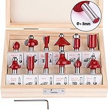 flintronic Fresas Set, 12 PCS Cortadores Caja de Plastico de Diámetro de Caña Herramienta de Fresado, Kit de Herramientas de Carpintería con Caja de Madera para el Hogar y Bricolaje,8mm