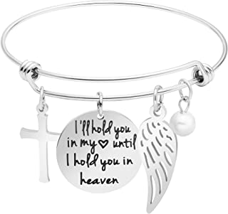 Awegift Memorial Jewelry Mom Dad Grandma I'll Hold You in My Heart Until I can Hold You in Heaven