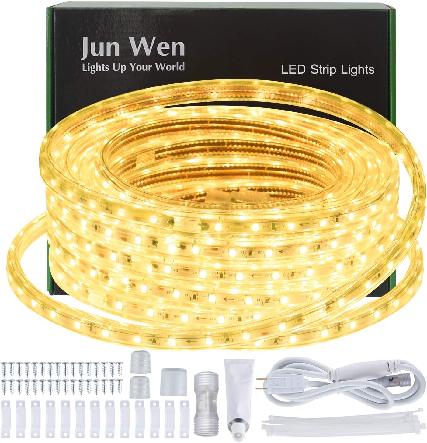 JUNWEN LED Strip National Max 83% OFF uniform free shipping Lights Outdoor Rope Warm Waterproof 40ft