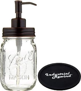 Industrial Rewind Mason Jar soap Dispenser with Non Slip Coaster - 16oz Clear Pint Ball Mason Jar with Oil Rubbed Bronze Soap Dispenser