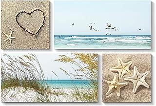 Coastal Landscape Artwork Seascape Picture - Sea Grass & Sea Life on Beach for Wall