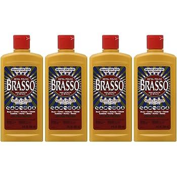 Brasso Metal Polish, 8 oz Bottle for Brass, Copper, Stainless, Chrome, Aluminum, Pewter & Bronze (Pack of 4)