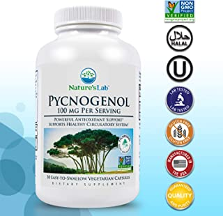 Nature's Lab Pycnogenol 100mg - 30 Capsules (1 Month Supply) for Circulation Blood Pressure Joint & Skin Health