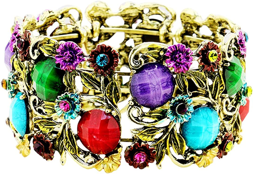 Rosemarie Collections Women's Stone Flower Leaf Cluster Wide Cuff Bracelet
