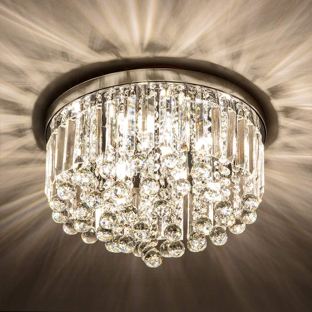 Crystal Chandelier Light Fixtures Crystal Chandeliers for Bedroom Living Room Hallway Bar Dining Room 8 Lights Modern Chrome Crystal Flush Mount Ceiling Light 15.75'' Width(G9 Bulbs excluding)