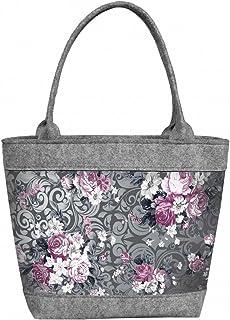 BERTONI Damen Tasche aus Filz Schultertasche Shopper Tragetasche Filztasche Grau