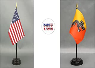 "Made in The USA. 1 American and 1 International Country Rayon 4""x6"" Office Desk & Little Hand Waving Table Flag, Includes 2 Flag Stands & 2 Small 4""x6"" Mini Stick Flags (Bhutan)"