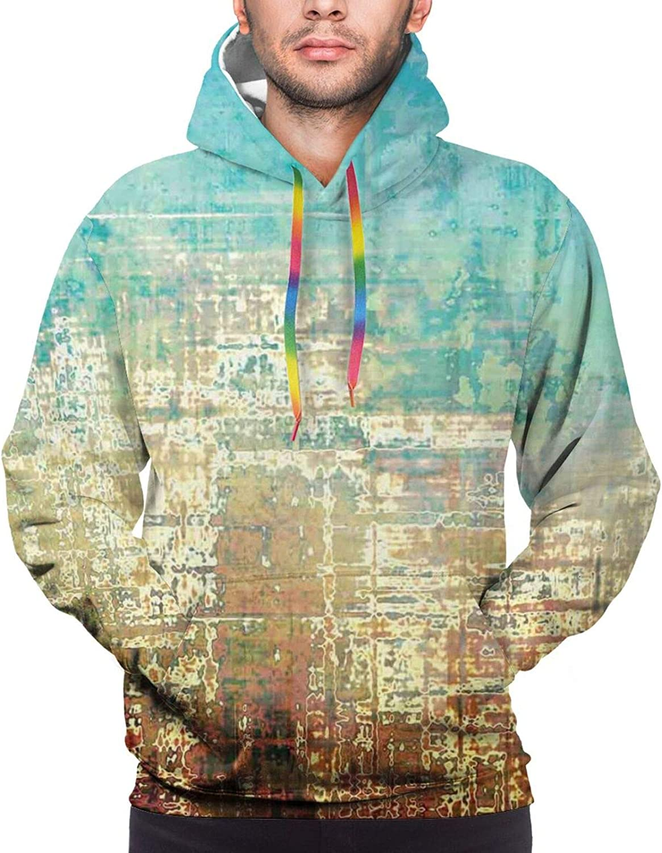 Men's Hoodies Sweatshirts,Abstract Creative Weathered Design Grunge Effect Contemporary Art