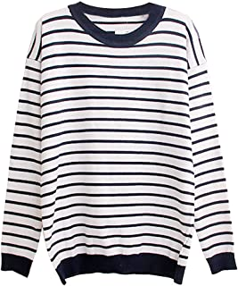 eYourlife2012 Women's Striped Kintted with Heart Elbow Patch Pullover Sweater