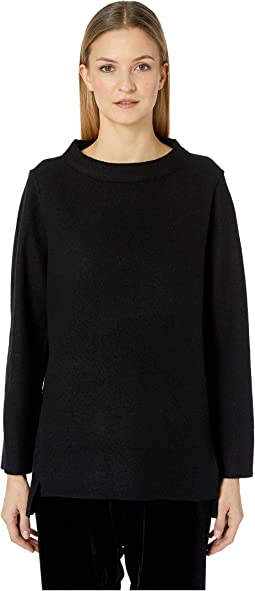 Lightweight Boiled Wool Round Neck Top