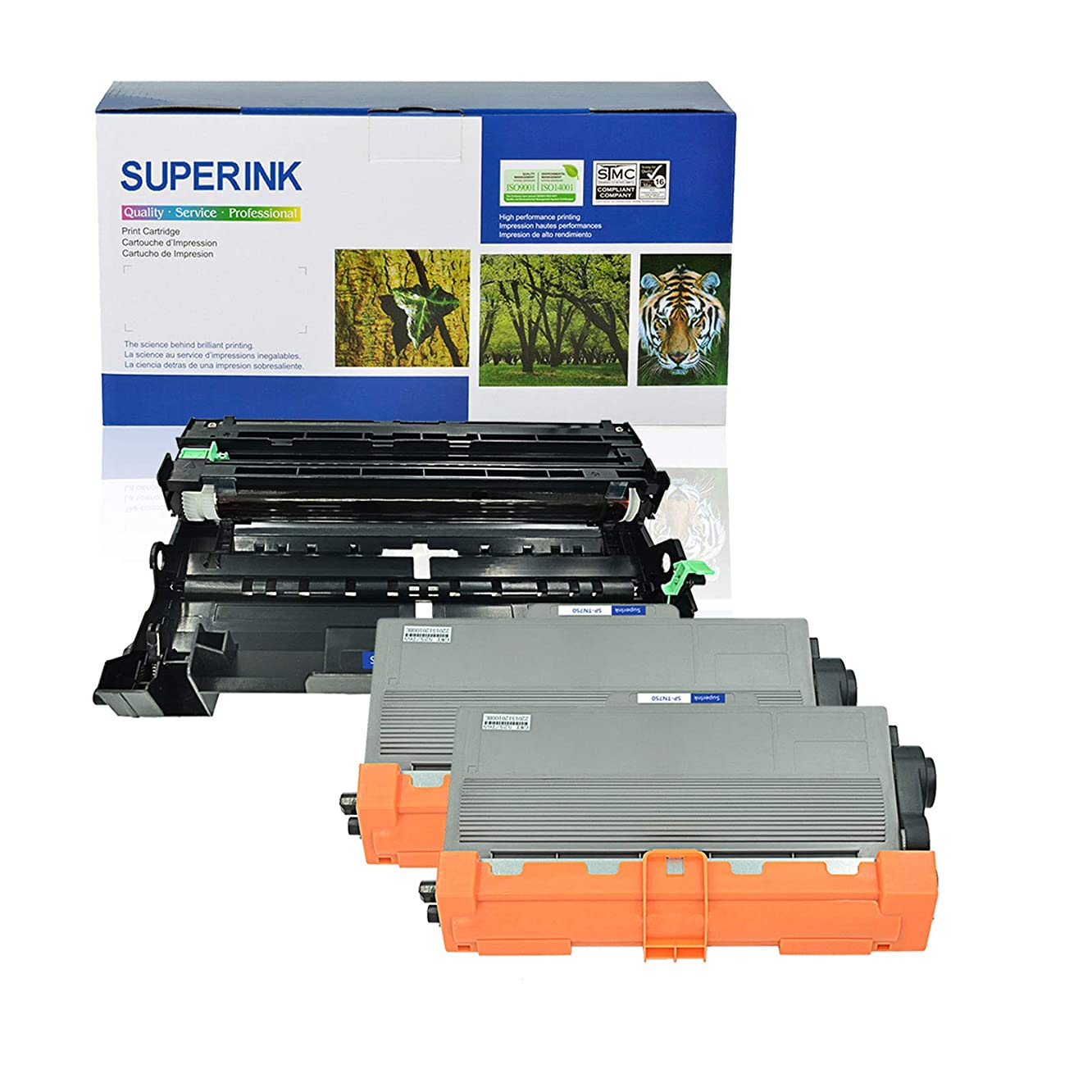 SuperInk 3 Pack Toner Cartridge and Drum Unit Set Compatible for Brother TN750 DR-720 (2 Toner, 1 Drum) use in DCP-8110DN DCP-8150DN HL-5450DN HL-6180DW MFC-8510DN MFC-8710DW MFC-8950DW Printer