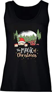 Women's Tank Top Believe in The Magic of Christmas, Santa's Dwarf, Reindeer