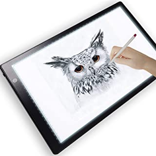 Picture/Perfect Professional Light Box for Tracing - Ultra Thin Portable LED Light Pad, 3 Level Brightness Advanced Filter to Prevent Eye Fatigue, Includes Tracing Paper and Clamp, A4 9x13 Inch