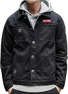 R.Y.A.R メンズ ファッション デニムジャケット おしゃれ 人気 シュプリーム風 ジャケット アウター 旅行 秋 春 コート M L XL 2XL 3XL 4XL 5XL ブラック 黒