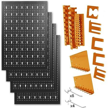 METALLMOBELL-Panel de Herramientas Metálico de 160x60x2Cm, Kit de 4 Paneles Perforados 40x60x2Cm+ Kit de Accesorios ganchos y soportes Ordenación Herramientas 22uds (NEGRO/NARANJA)