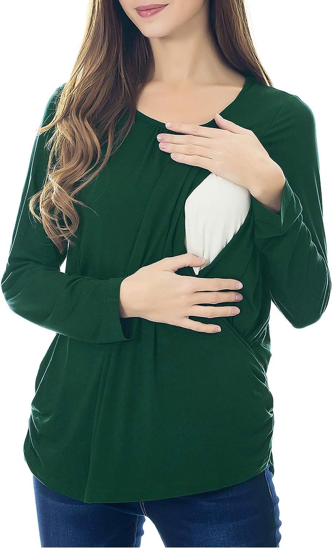Smallshow Womens Maternity Nursing Tops Long Sleeve Modal Breastfeeding Shirts