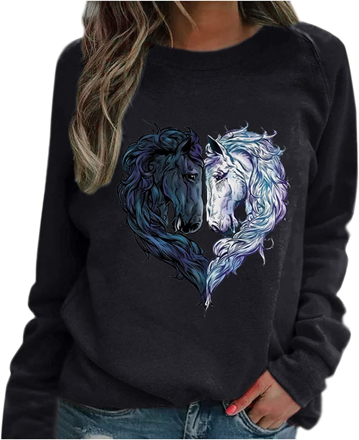 Ladies Shirt, Fashion Horse Head Heart-Shaped Printing Raglan Long-Sleeved Top Valentine's Day Pullover Tops Blouse