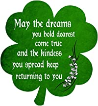 Irish Blessing Prayer May The Dreams You Hold Dearest Come True Green Shamrock - Vinyl Sticker