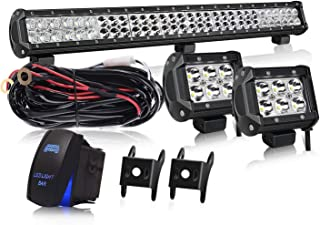 28 Inch LED Light Bar KEENAXIS 180W Spot Flood Combo Bar 2PCS 4Inch 18W Cube Pods LED Driving Lights with Rocker Switch Wiring Harness for Ford Truck Chevy GMC Polaris ATV ,1Year Warranty