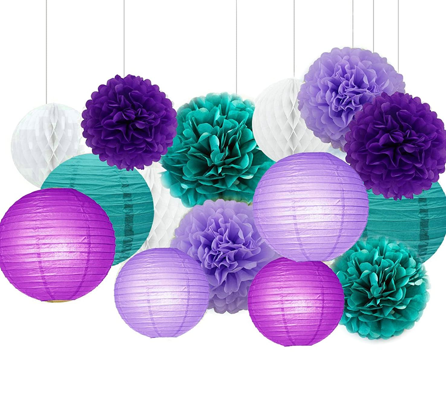 Sogorge Dark purple Lavender and Teal Blue Tissue Paper Pom Poms Flowers Tissue Paper Lanterns Honeycomb Balls Birthday Party Wedding Baby Shower Decorations