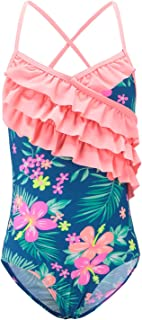 Girls One Piece Swimsuits Hawaiian Ruffle Swimwear Beach Bathing Suit