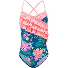 5e96ed4a47 Girls One Piece Swimsuits Hawaiian Ruffle Swimwear Beach Bathing Suit