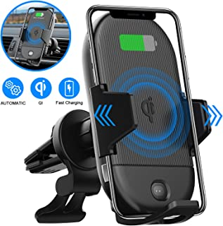 LETSCOM Wireless Car Charger, 15W Qi Fast Charging Car Mount Charger Automatic Clamping Windshield Dashboard Air Vent Phone Holder Compatible with iPhone 11 Pro/11/X/8, Samsung S10/S10+/S9/S9+/S8/S8+
