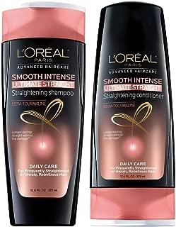 L'Oreal Paris Smooth Intense Ultimate Straight Bundle: Straightening Shampoo & Conditioner, 12.6 OunceEach