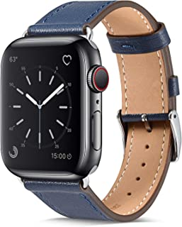 Marge Plus Compatible Watch Band 42mm 44mm, Genuine Leather iWatch Strap Replacement Band with Stainless Metal Clasp Compatible Watch Series 5 4 3 2 1 Sport and Edition, Indigo