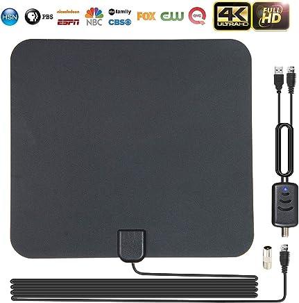 Antenas de TV Interior, leegoal Amplificado 80 Millas de Largo Alcance recepción Libre 1080p 4K Antena de HDTV Digital con Amplificador Desmontable señal Booster y 13,2 ft Cable coaxial